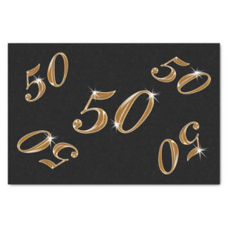 Black and Gold 50th Birthday Tissue Paper