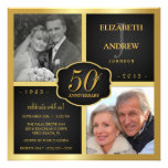 Black and Gold 50th Wedding Anniversary Personalized Invitations