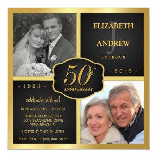 Black and Gold 50th Wedding Anniversary 13 Cm X 13 Cm Square Invitation Card