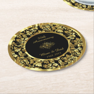 Black And Gold 50th Wedding Anniversary Round Paper Coaster