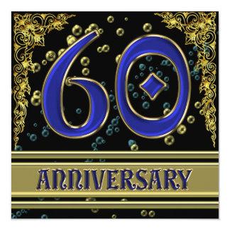 Black and Gold 60th Anniversary party 13 Cm X 13 Cm Square Invitation Card