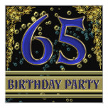 Black and Gold 65th Birthday party 13 Cm X 13 Cm Square Invitation Card
