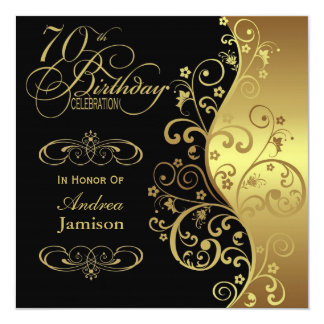 Black and Gold 70th Birthday Party Invitation