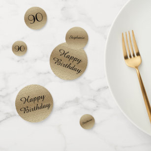 Black And Gold 90th Birthday Table Decoration Confetti