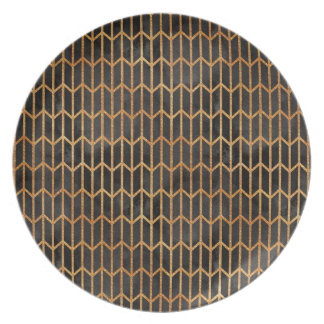 Black and Gold Abstract Pattern Plate