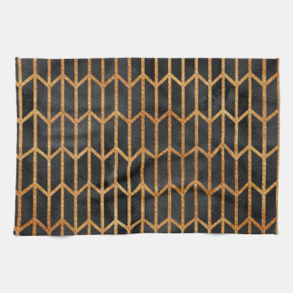 Black and Gold Abstract Pattern Tea Towel