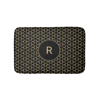 Black and Gold Abstract Pattern with Monogram Bath Mat