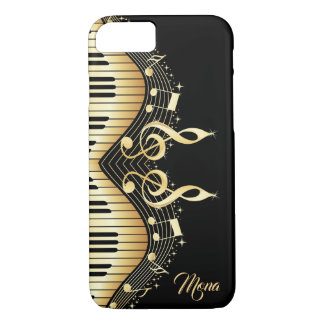 Black And Gold Abstract Piano Design iPhone 8/7 Case