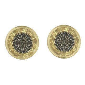 Black And Gold Abstract Starburst Gold Finish Cuff Links