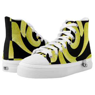 BLACK AND GOLD ABSTRACT SWIRL HIGH TOP SNEAKERS
