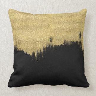 Black and Gold Abstract Throw Pillow