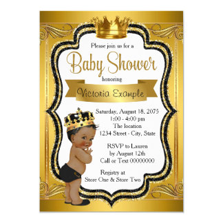 Black and Gold African American Prince Baby Shower 13 Cm X 18 Cm Invitation Card