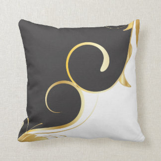 Black and Gold American MoJo Pillow Throw Cushion