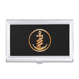 Black and Gold Anchor Business Card Holder