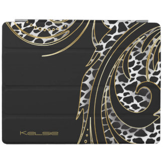 Black and Gold Animal Swirly Print iPad Cover