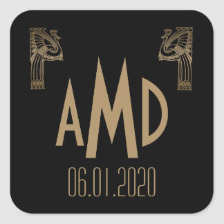 Black and Gold Art Deco Peacock Monogram Sticker
