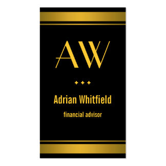 Black and Gold Bar Borders Vertical Accountant Pack Of Standard Business Cards