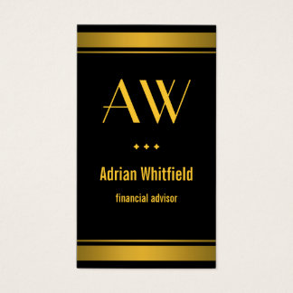 Black and Gold Bar Borders Vertical Accountant Business Card
