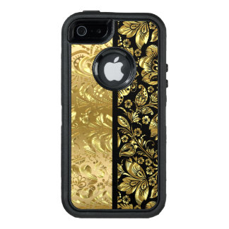Black And Gold Baroque Floral Damasks OtterBox iPhone 5/5s/SE Case