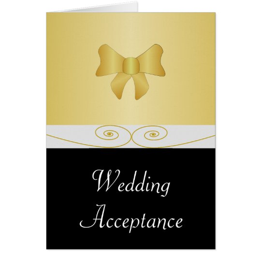 Black And Gold Bow Wedding Acceptance Card