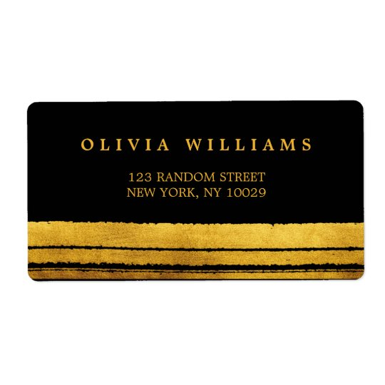 Black and Gold Brush Stroke Address Labels