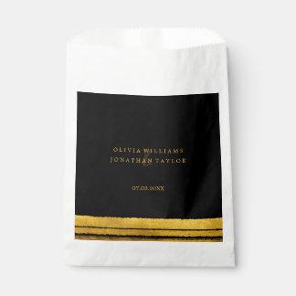 Black and Gold Brush Stroke Favor Bag