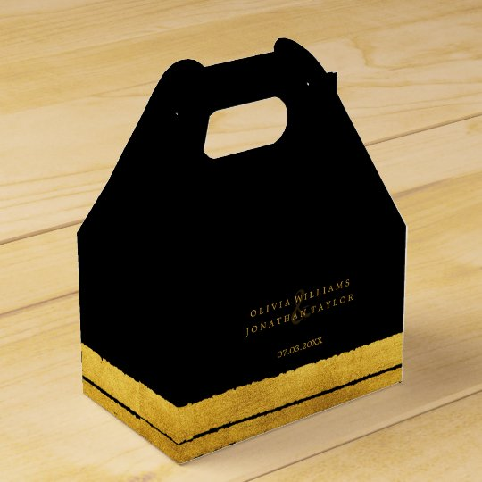 Black and Gold Brush Stroke Favour Box