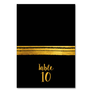 Black and Gold Brush Stroke Table Place Card