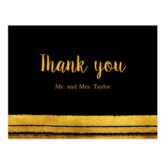 Black and Gold Brush Stroke Thank You Postcard