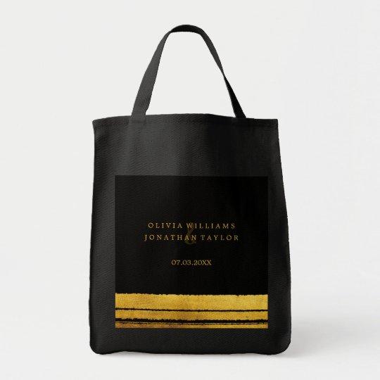 Black and Gold Brush Stroke Tote Bag