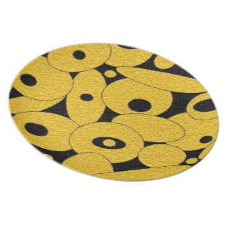 Black and Gold Bubble Orbs dinner plate