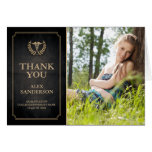 Black and Gold Caduceus/Medical School Thank You Note Card