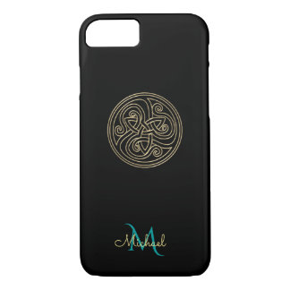 Black and Gold Celtic Knot Monogram iPhone 7 Case