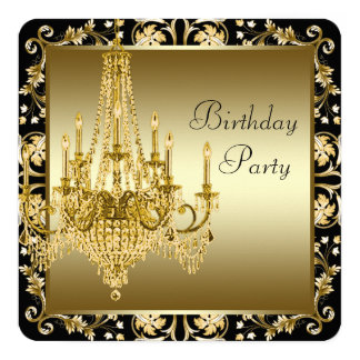 Black and Gold Chandelier Birthday Party 13 Cm X 13 Cm Square Invitation Card