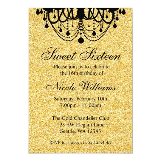 Black and Gold Chandelier Sweet 16 Birthday Card