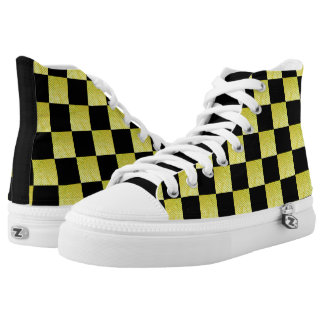 BLACK AND GOLD CHECKED HIGH TOP SNEAKERS