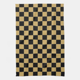 Black and Gold Checkered Towels