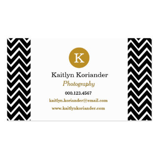 Black and Gold Chevron Custom Monogram Girly Double-Sided Standard Business Cards (Pack Of 100)