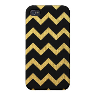 Black and Gold Chevron iPhone 4/4S Cover