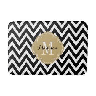 Black and Gold Chevron Monogram Bath Mat