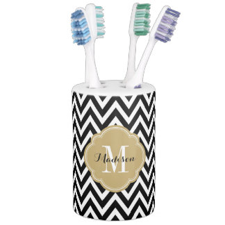 Black and Gold Chevron Monogram Bathroom Set