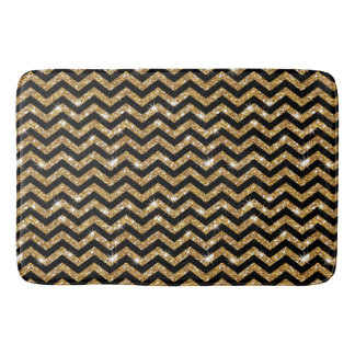 Black and Gold Chevron Pattern  Bath Mat