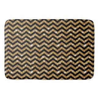 Black and Gold Chevron Pattern  Bath Mat