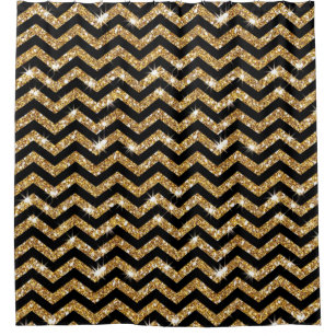 Black And Gold Chevron Pattern Shower Curtain
