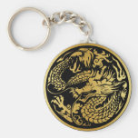 Black and Gold Chinese Dragon key-chain Key Chain