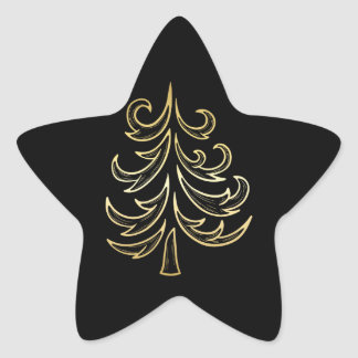Black and Gold Christmas Tree Holiday Sticker
