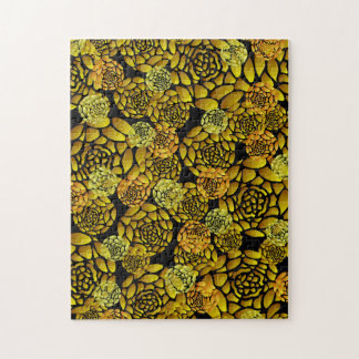 Black and Gold Chrysanthemum Jigsaw Puzzle