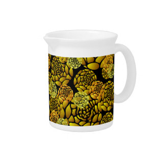 Black and Gold Chrysanthemum Pitcher