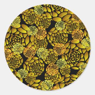 Black and Gold Chrysanthemum Sticker