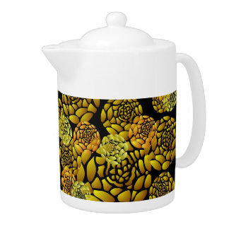 Black and Gold Chrysanthemum Teapot
